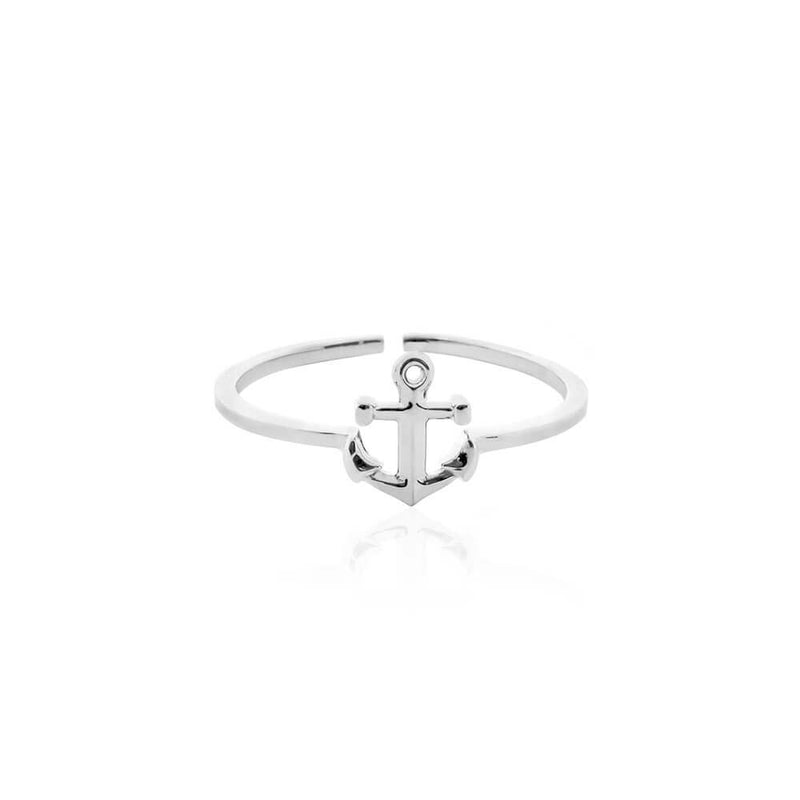 Mini Sterling Silver Adjustable Anchor Ring - JET SET CANDY
