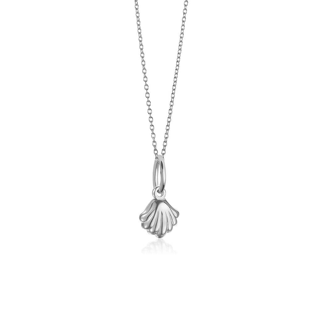 Sterling Silver Mini Clamshell Necklace - JET SET CANDY
