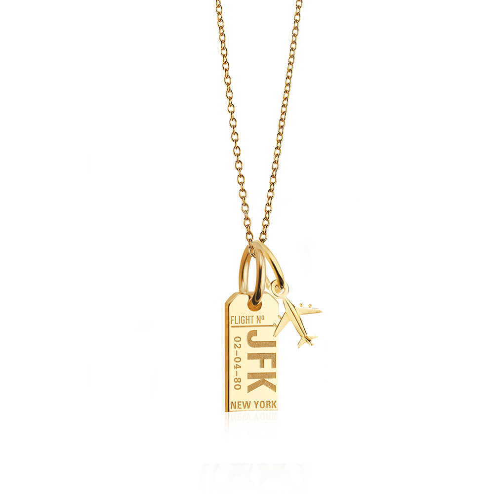 Mini Gold New York JFK Luggage Tag Charm Necklace