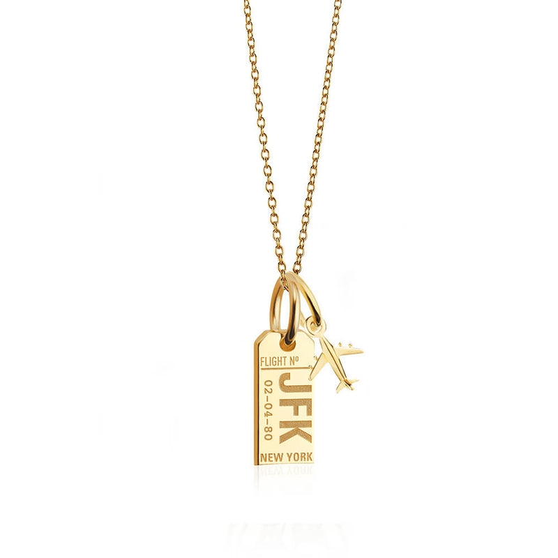 Mini Gold New York JFK Luggage Tag Charm Necklace (SHIPS EARLY FEB)