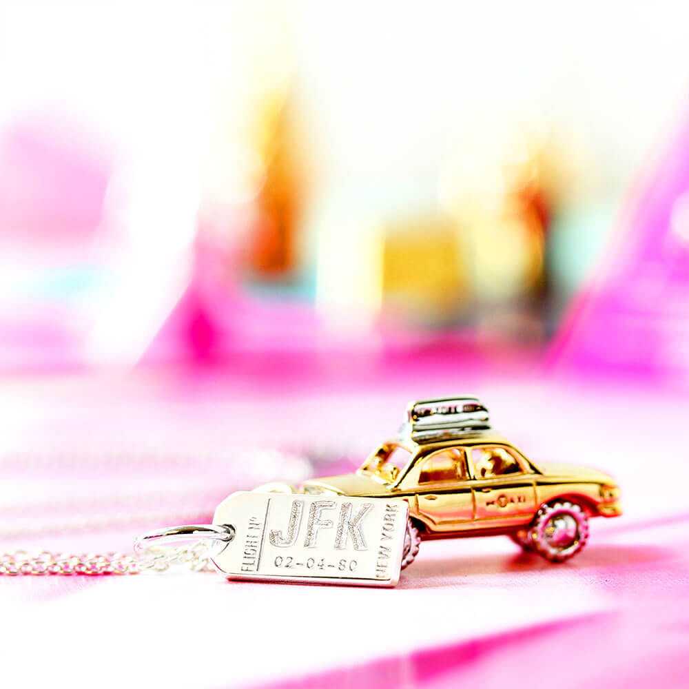 Mini Silver New York Necklace, JFK Luggage Tag Charm - JET SET CANDY