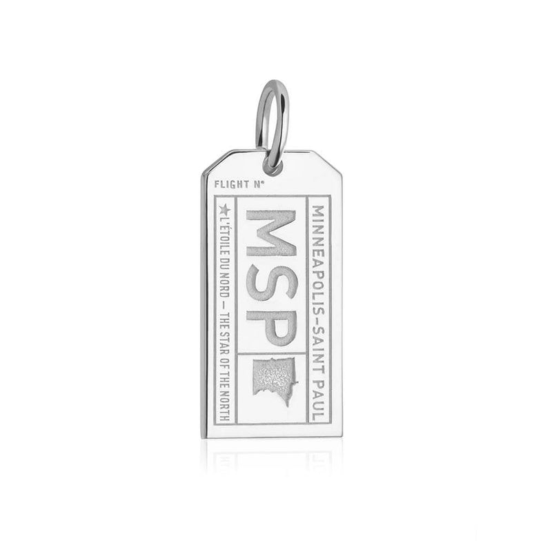 Sterling Silver Charm, MSP Minneapolis Luggage Tag - JET SET CANDY