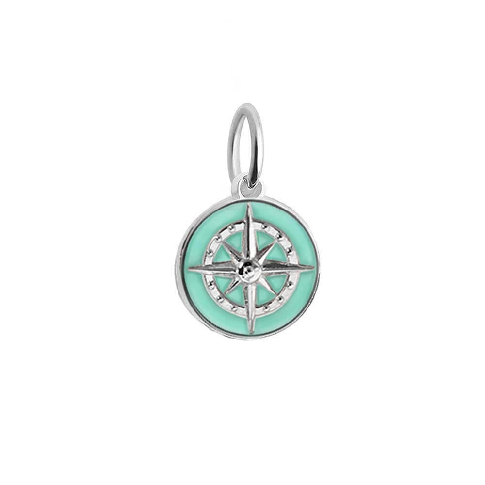 Silver Mini Mint Enamel Compass Charm (SHIPS JUNE) - JET SET CANDY