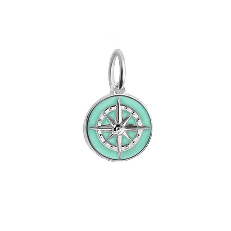 Silver Mini Mint Enamel Compass Charm (BACK ORDER-SHIPS LATE MARCH) - JET SET CANDY