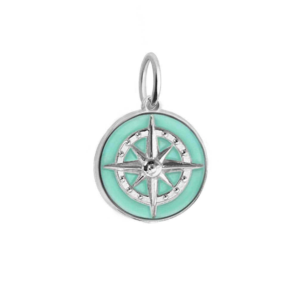 Large Silver Mint Enamel Compass Charm (BACK ORDER-SHIPS LATE MARCH) - JET SET CANDY