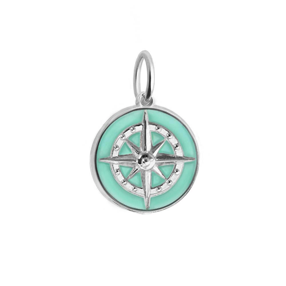 Large Silver Mint Enamel Compass Charm (SHIPS JUNE) - JET SET CANDY