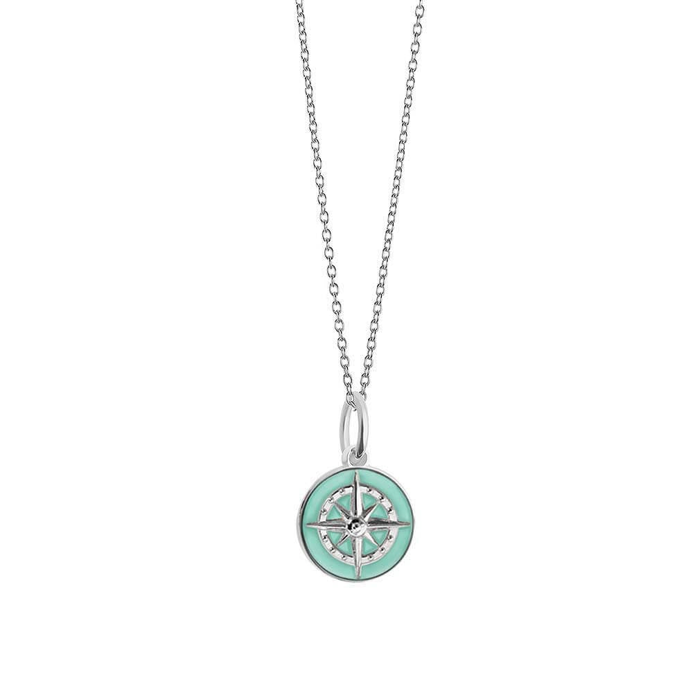 Silver Mini Mint Enamel Compass Charm - JET SET CANDY