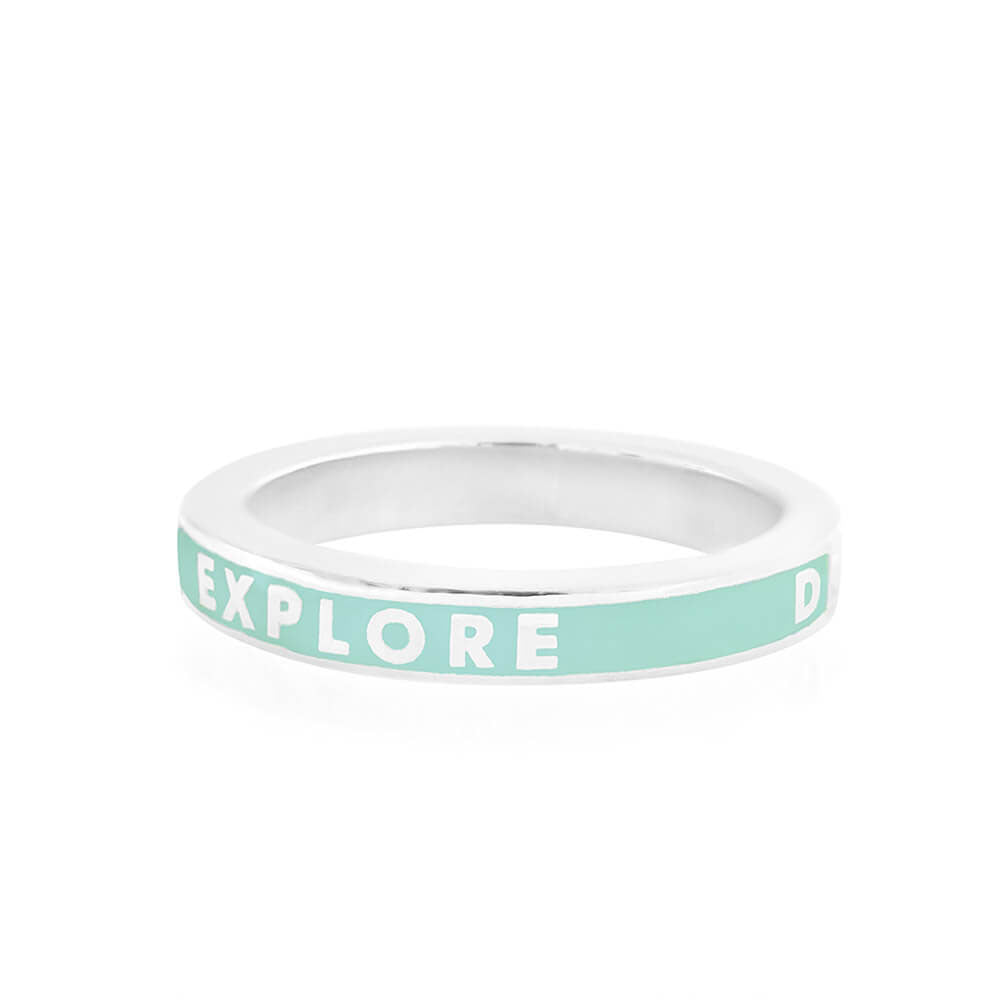Mint Enamel Ring in Sterling Silver, Explore Dream Discover