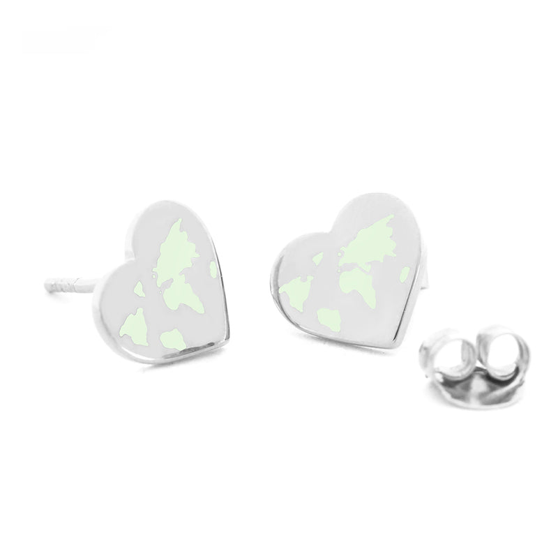 Small Silver World Heart Map Earrings with Mint Enamel