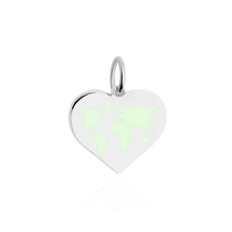Medium Silver World Heart Map Charm with Mint Enamel (SHIPS MID DEC.)