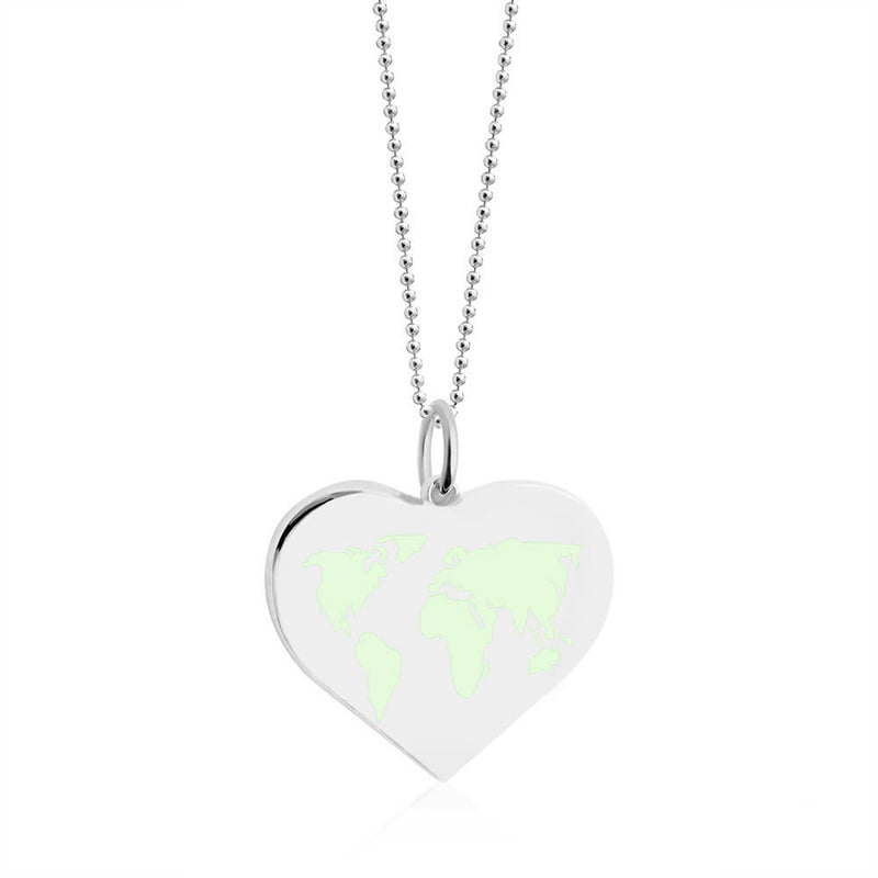 Large Silver World Heart Map Charm with Mint Enamel