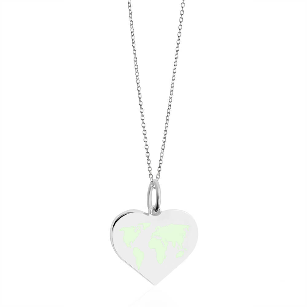 Medium Silver World Heart Map Charm with Mint Enamel