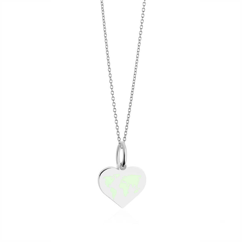 Mini Silver World Heart Map Charm with Mint Enamel (SHIPS MID DEC.)
