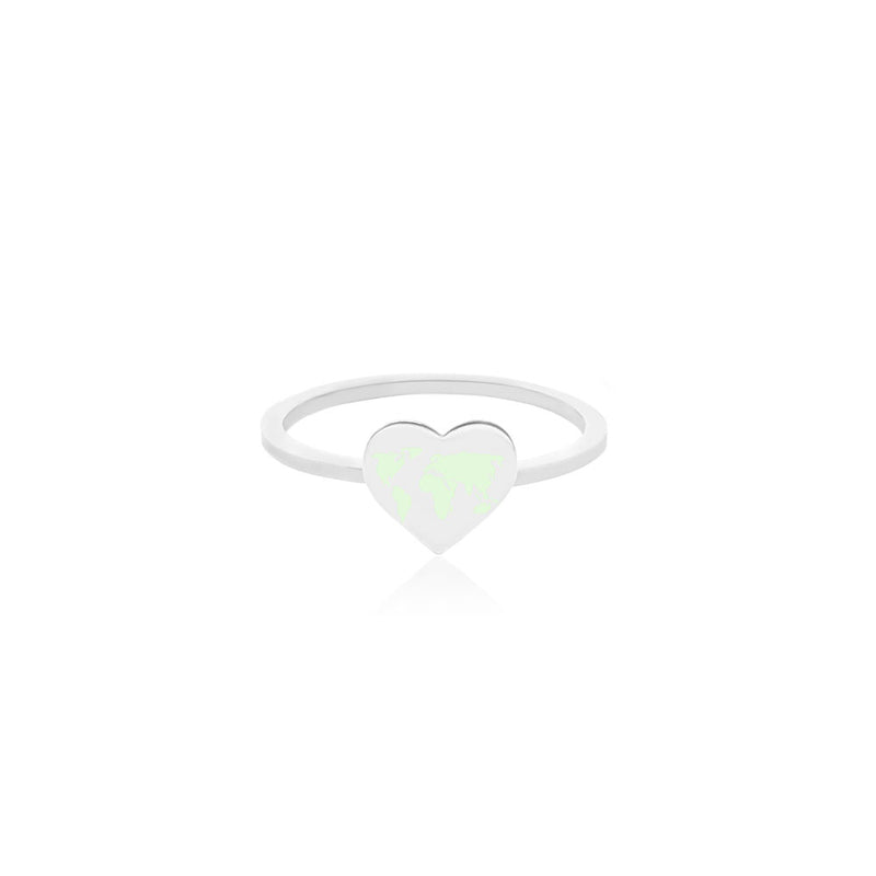Silver World Heart Map Midi Ring with Mint Enamel (SHIPS MID DEC.)