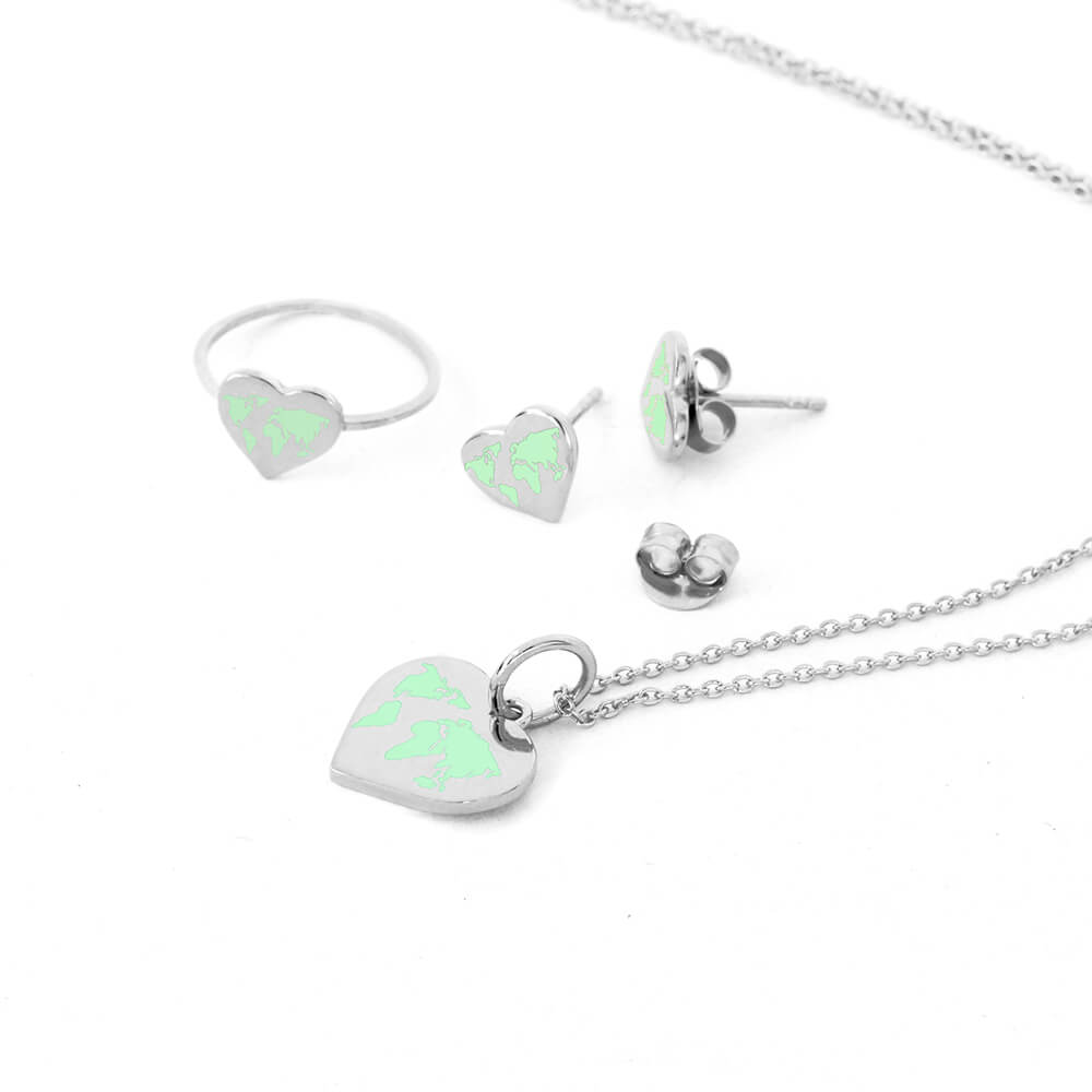 Sterling Silver Tiny World Heart Set