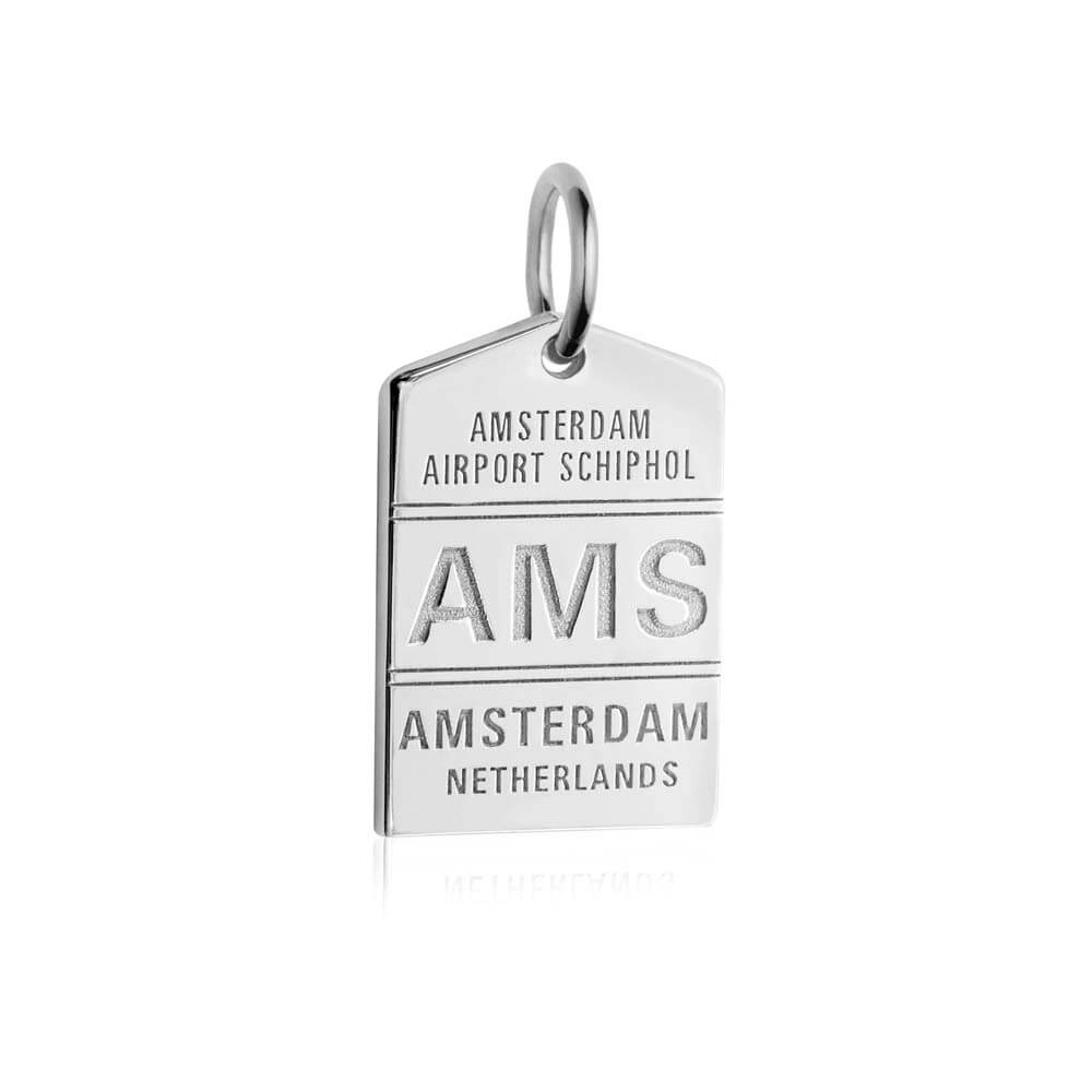 Silver Amsterdam Charm, AMS Luggage Tag (SHIPS JUNE) - JET SET CANDY