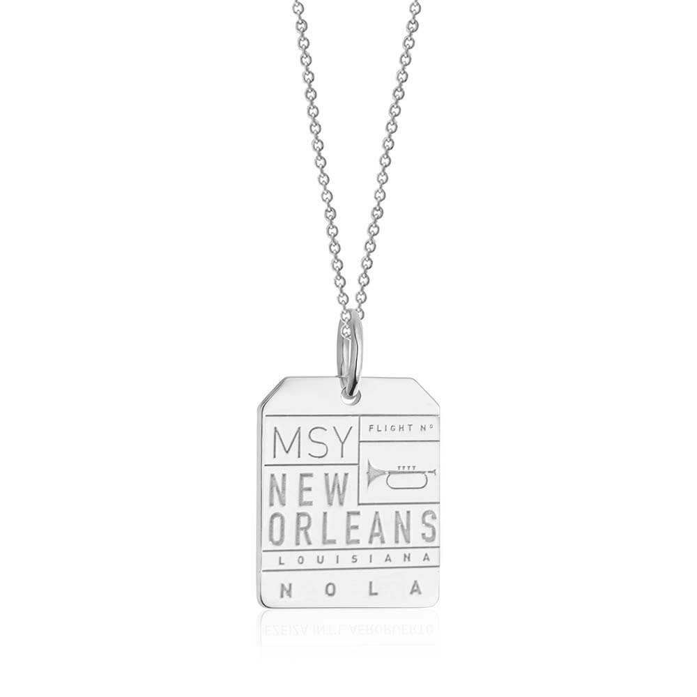 Silver New Orleans Charm, MSY Luggage Tag (SHIPS JUNE) - JET SET CANDY