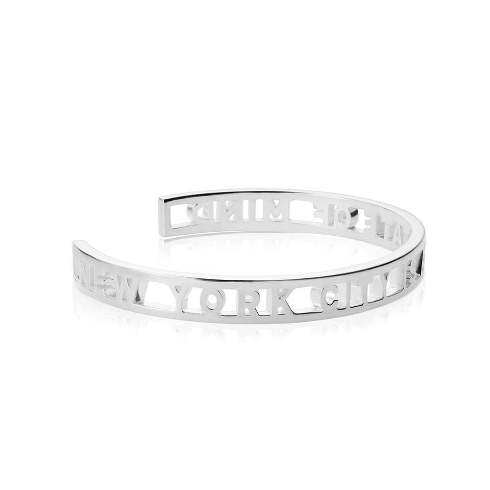 Silver New York City Cutout Cuff Bracelet - JET SET CANDY
