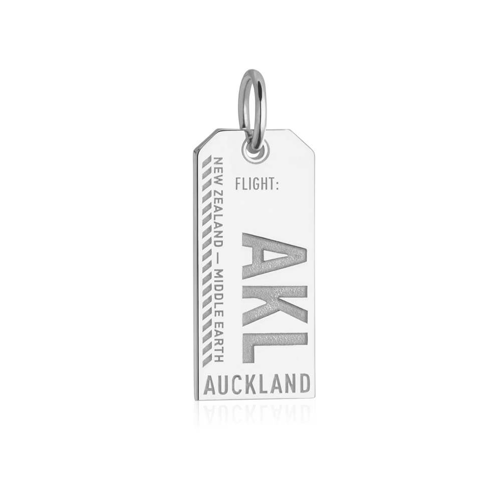 Silver New Zealand Charm, AKL Auckland Luggage Tag - JET SET CANDY