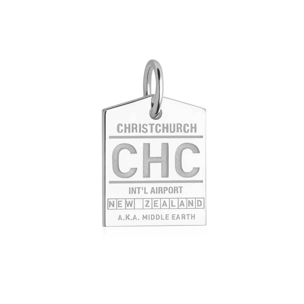 Silver New Zealand Charm, CHC Christchurch Luggage Tag - JET SET CANDY