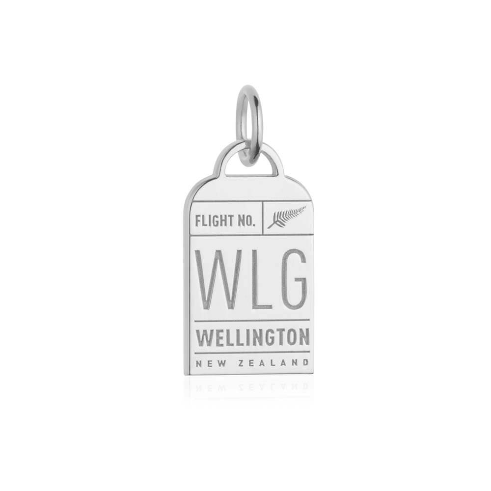 Silver New Zealand Charm, WLG Wellington Luggage Tag - JET SET CANDY