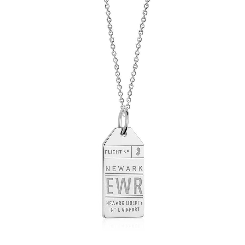 Silver USA Charm, EWR Newark Luggage Tag - JET SET CANDY