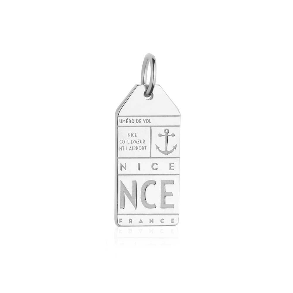 Silver France Charm, NCE Nice Luggage Tag - JET SET CANDY