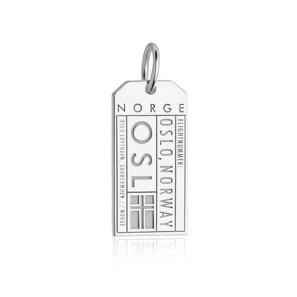 Silver Norway Charm, OSL Oslo Luggage Tag - JET SET CANDY