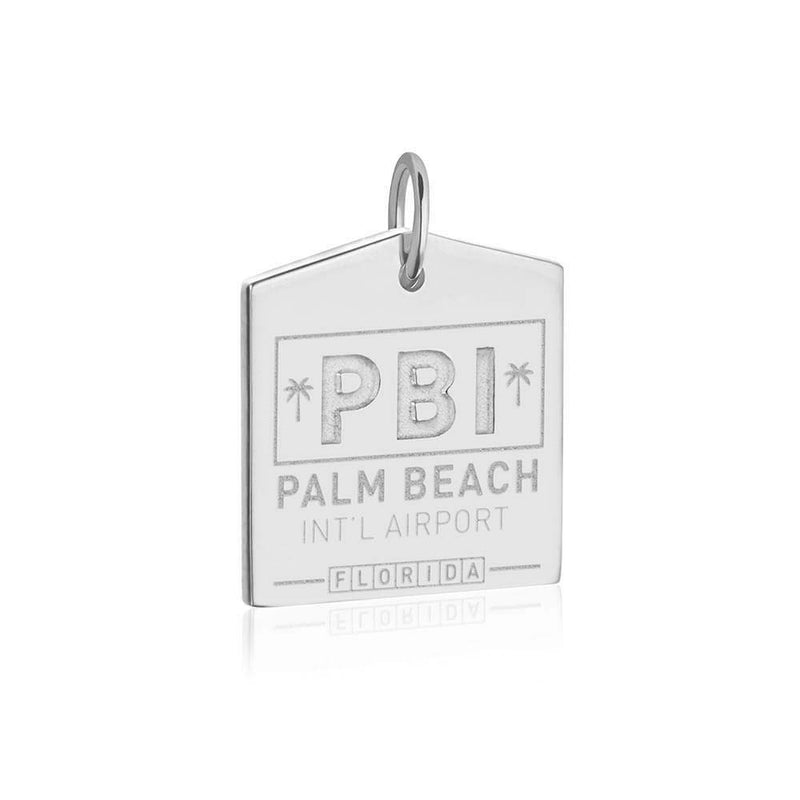 Sterling Silver Palm Beach Charm, PBI Luggage Tag - JET SET CANDY