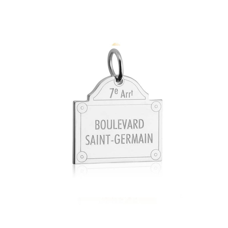 Silver Paris Charm, Boulevard Saint-Germain Sign - JET SET CANDY