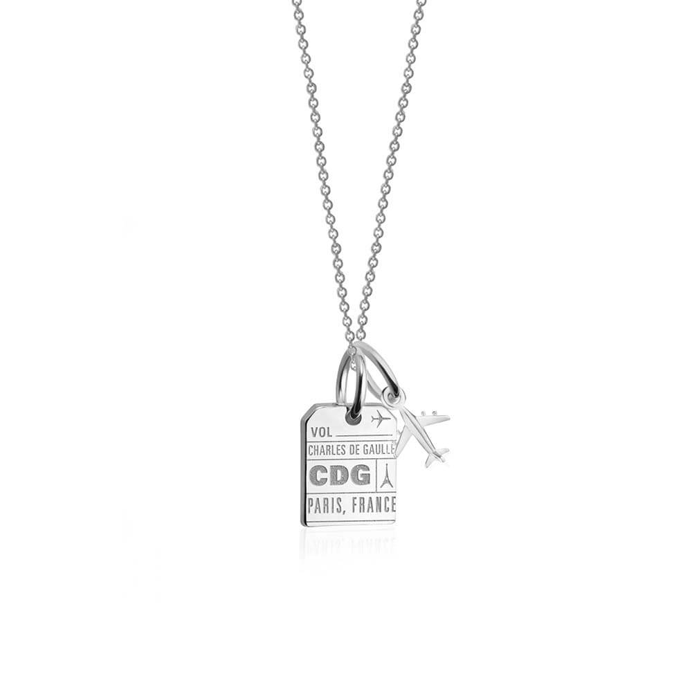 Mini Silver Paris Necklace, CDG Luggage Tag Charm - JET SET CANDY