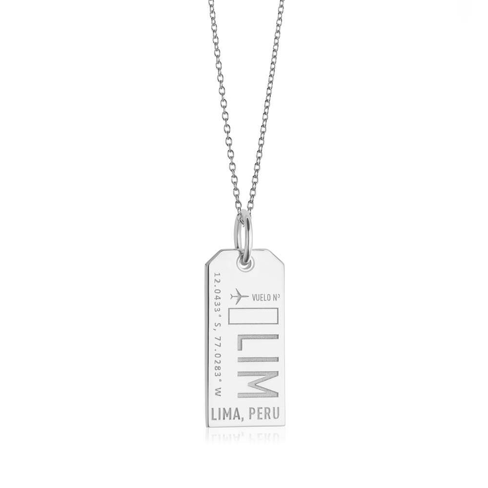 Silver Travel Charm, LIM Lima, Peru Luggage Tag - JET SET CANDY