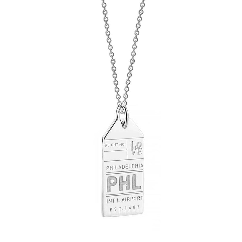Silver USA Charm, PHL Philadelphia Luggage Tag - JET SET CANDY
