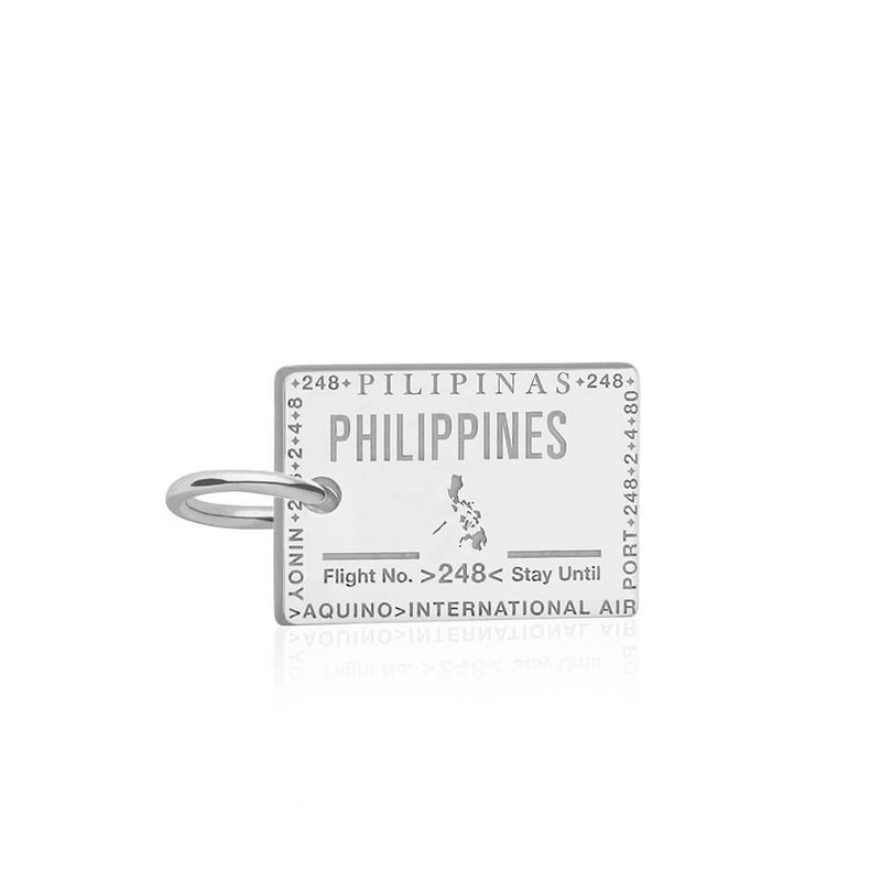 Sterling Silver Charm, Philippines Passport Stamp