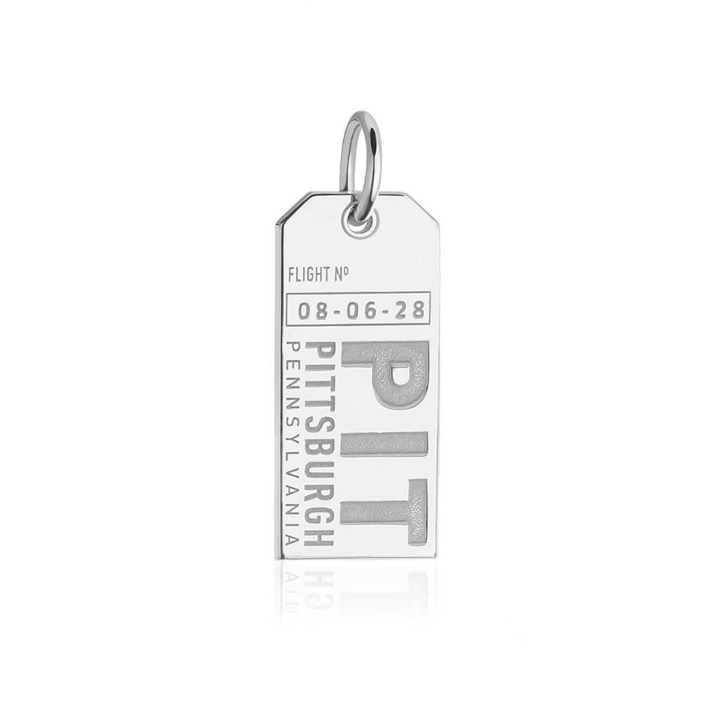 Sterling Silver Pennsylvania Charm, PIT Pittsburgh Luggage Tag - JET SET CANDY