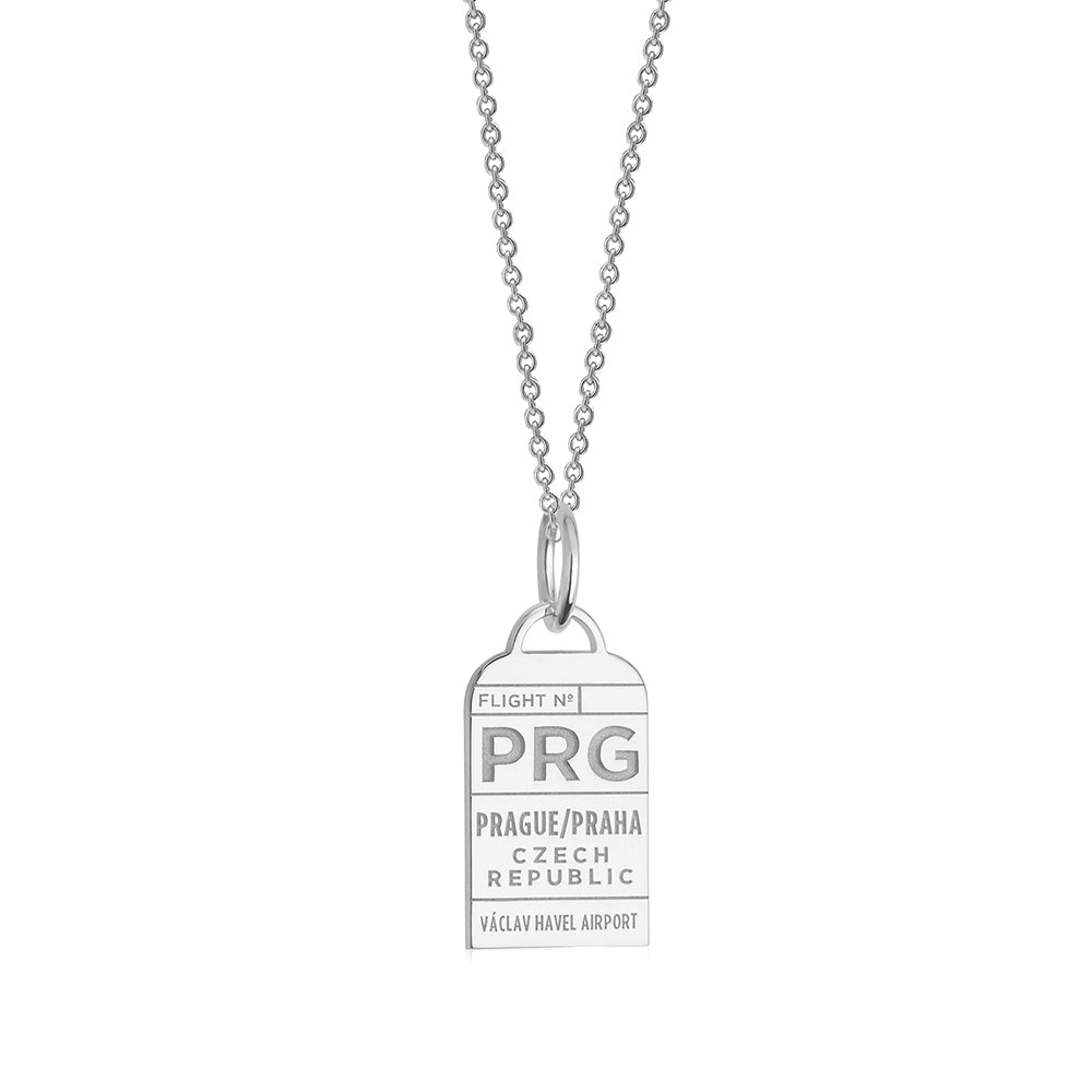 Silver Czech Republic Charm, PRG Prague Luggage Tag - JET SET CANDY