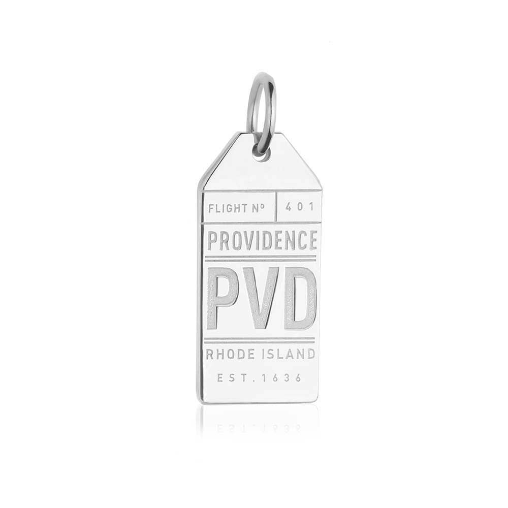 Sterling Silver Rhode Island Charm, PVD Providence Luggage Tag - JET SET CANDY