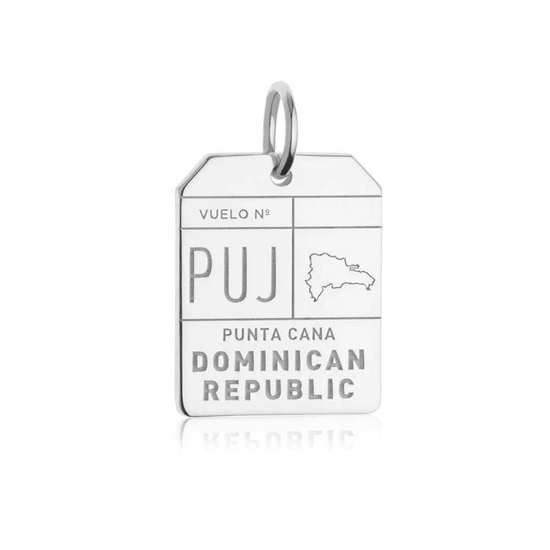 Silver Caribbean Charm, Punta Cana PUJ Luggage Tag - JET SET CANDY