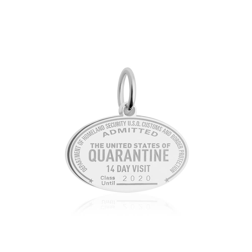 Sterling Silver United States of Quarantine Passport Stamp Charm