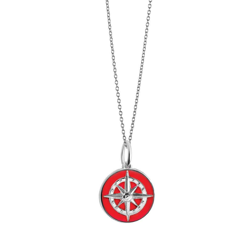 Large Silver Red Enamel Compass Charm - JET SET CANDY
