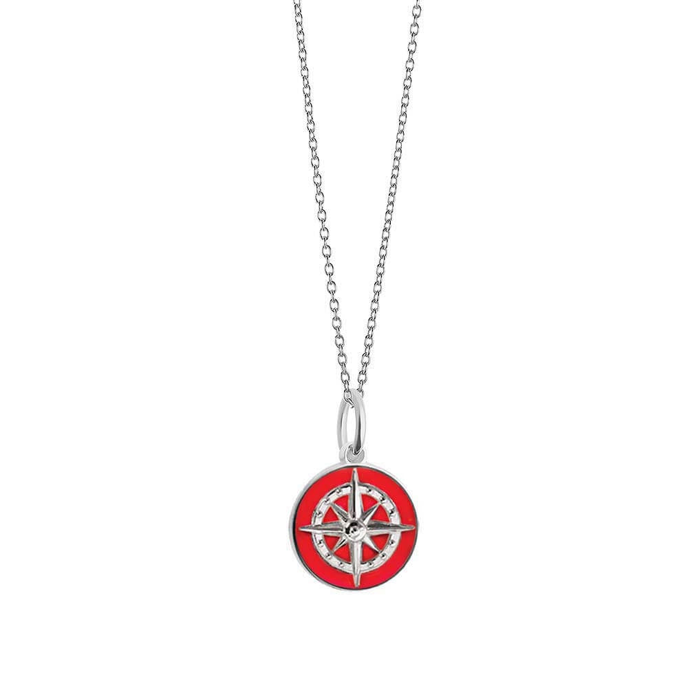 Silver Mini Red Enamel Compass Charm - JET SET CANDY