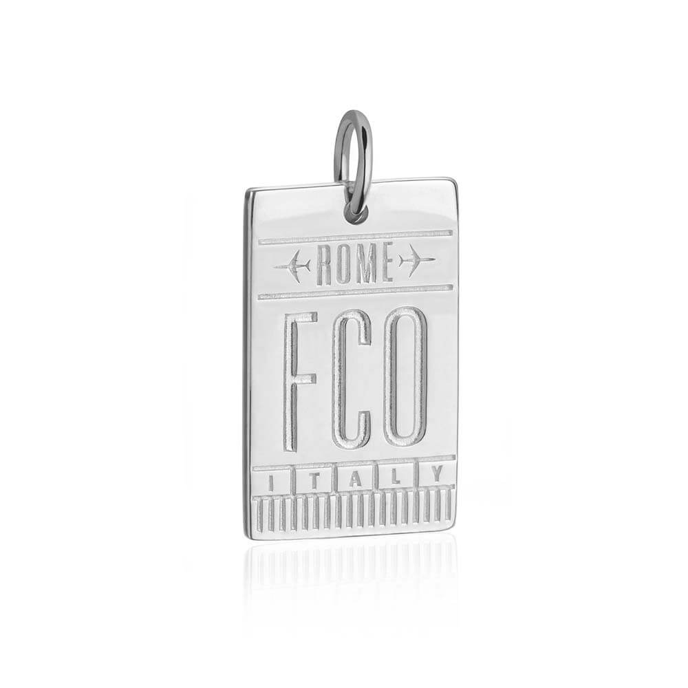 Silver Rome Charm, FCO Luggage Tag - JET SET CANDY