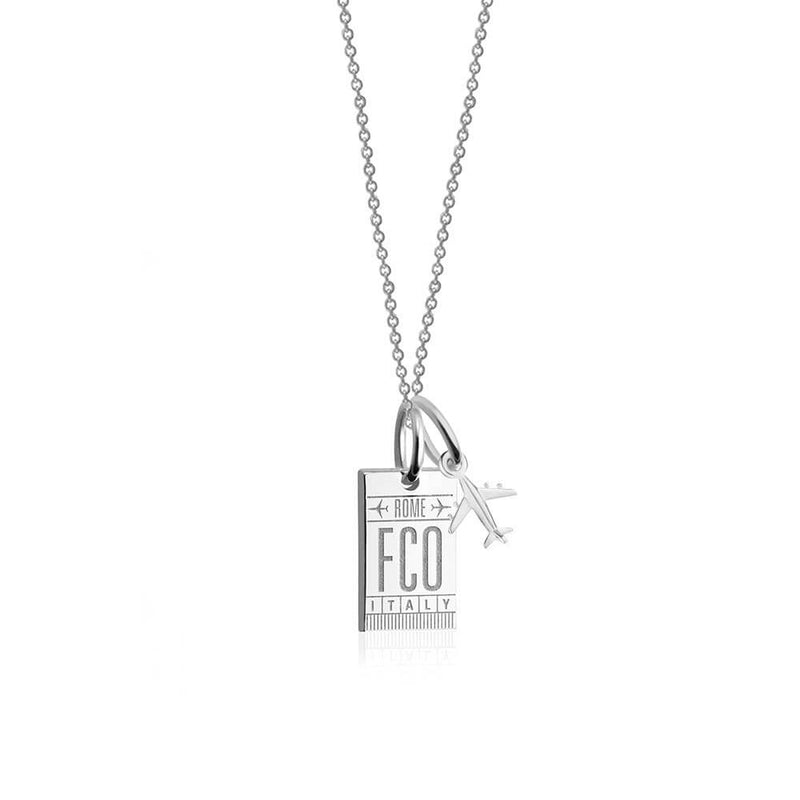 Mini Silver Rome Necklace, FCO Luggage Tag Charm (SHIPS JUNE) - JET SET CANDY