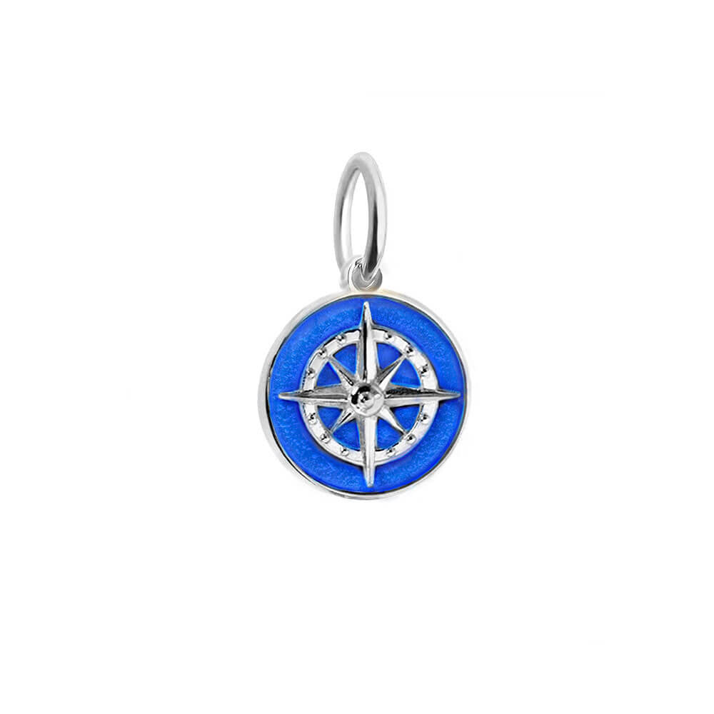 Silver Mini Royal Blue Enamel Compass Charm (SHIPS JUNE) - JET SET CANDY