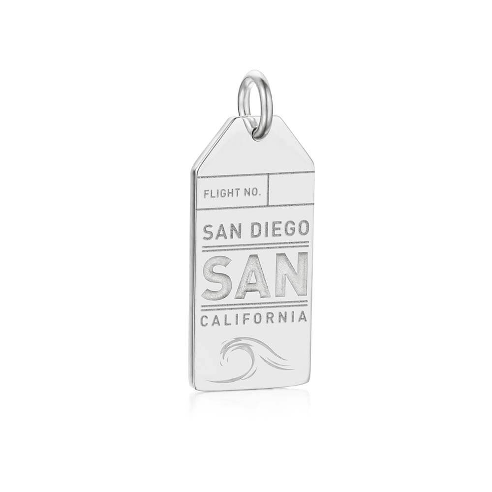 Silver California Charm, San Diego Luggage Tag - JET SET CANDY