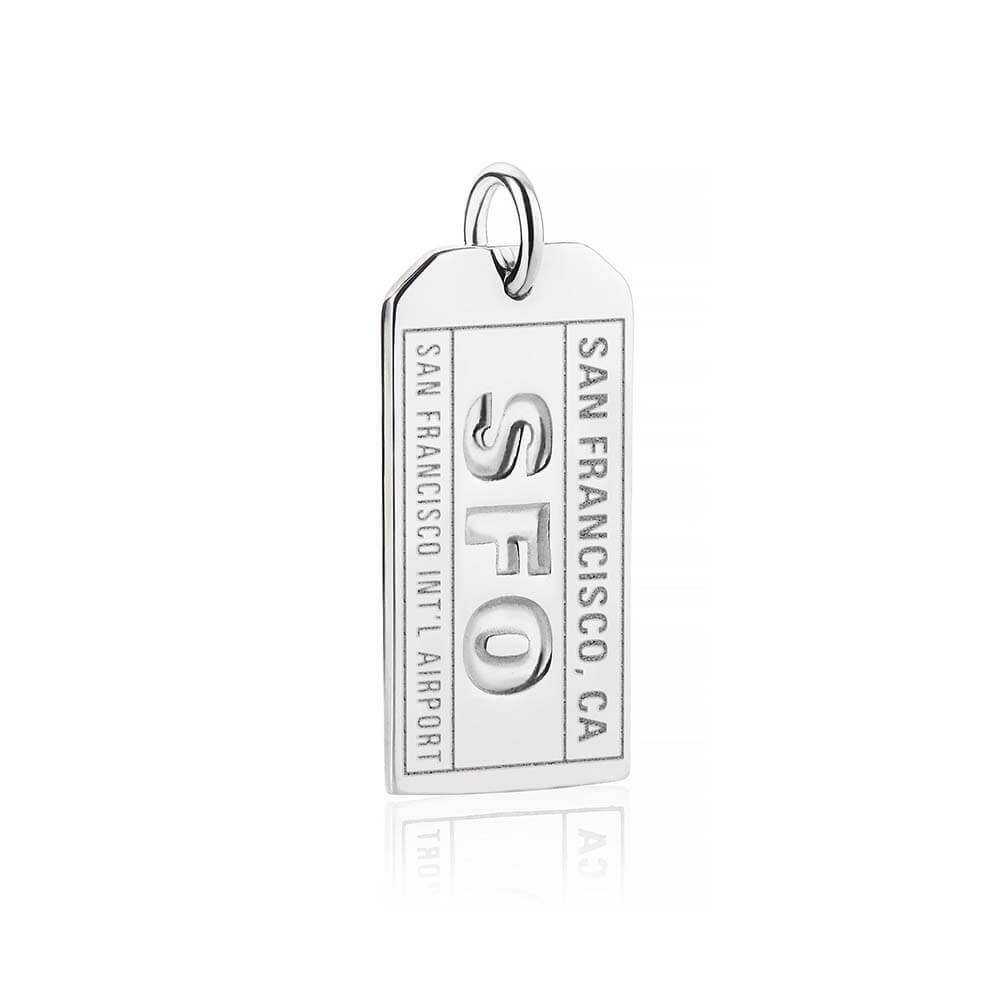 Silver California Charm, SFO San Francisco Luggage Tag - JET SET CANDY