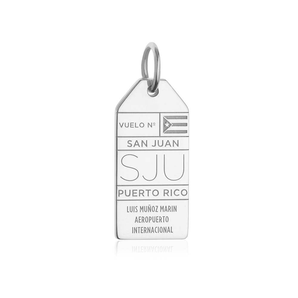 Silver Puerto Rico Charm, San Juan SJU Luggage Tag - JET SET CANDY