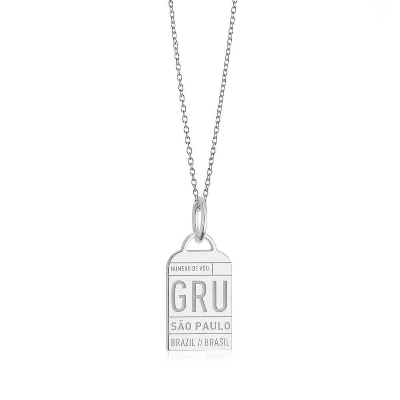 Silver Travel Charm, GRU Sao Paulo Luggage Tag - JET SET CANDY