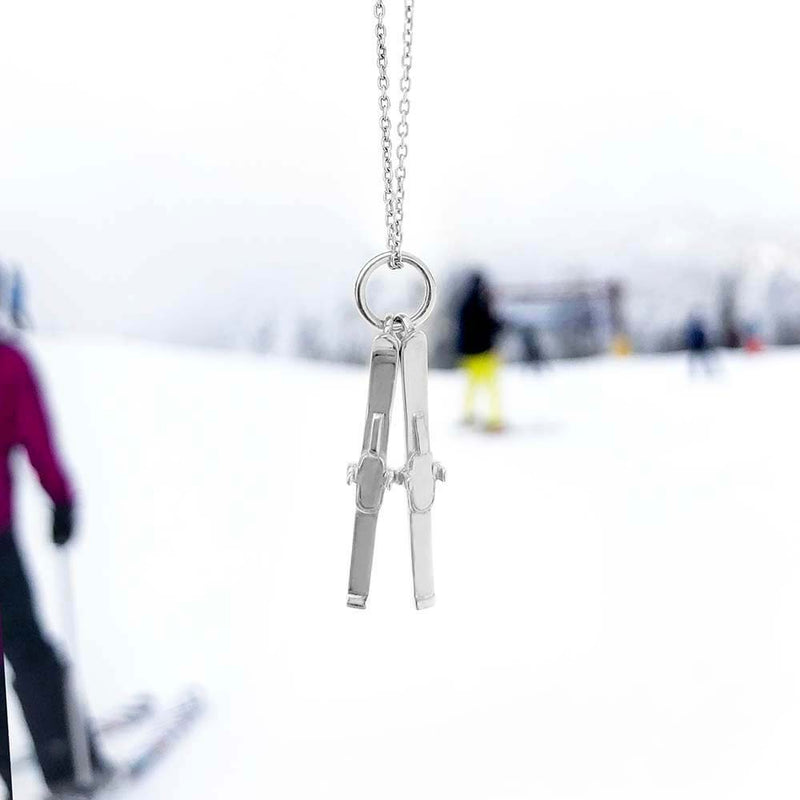 Sterling Silver Skis Charm - JET SET CANDY