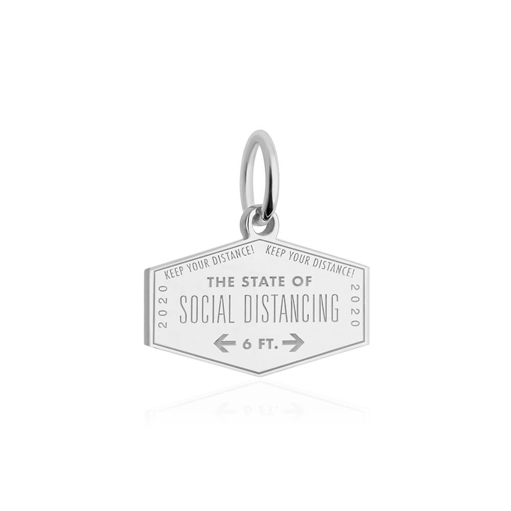 Silver Social Distancing Passport Stamp Charm